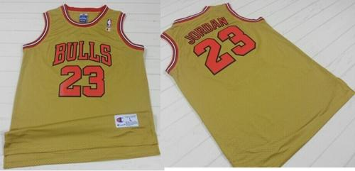 d1740fdf05a Bulls #23 Michael Jordan Gold 1997 Throwback Classic Stitched NBA Jersey